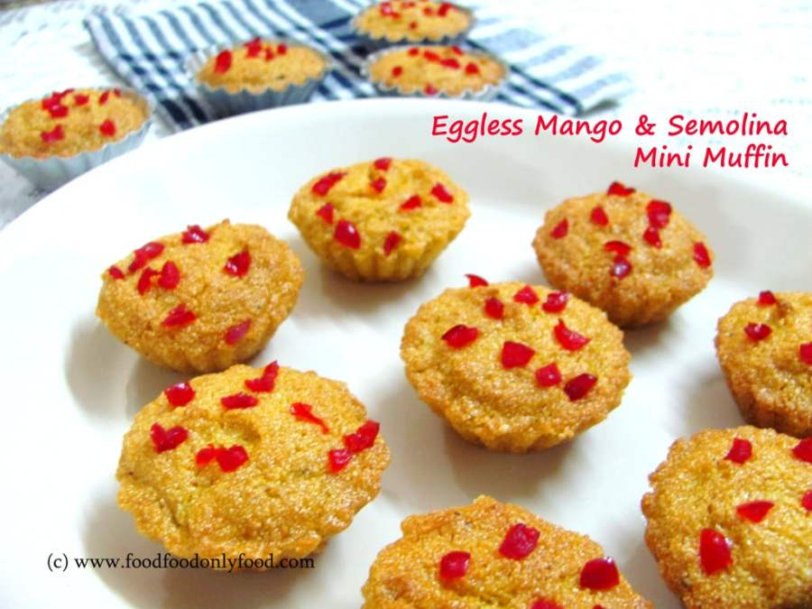 Eggless Mango and Semolina Mini Muffin