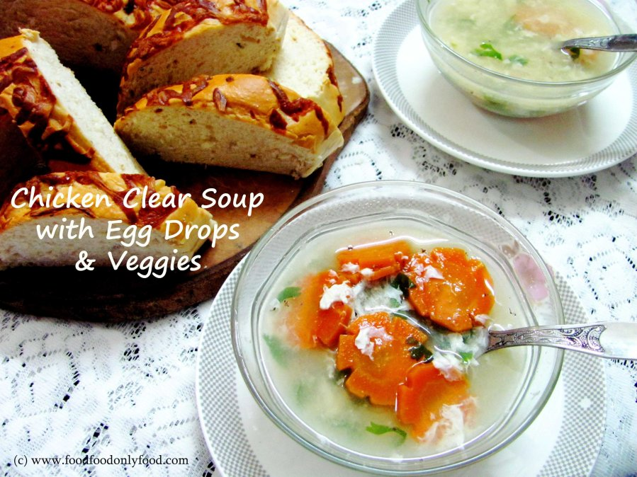 Chicken Clear Soup with Egg Drops &Veggies