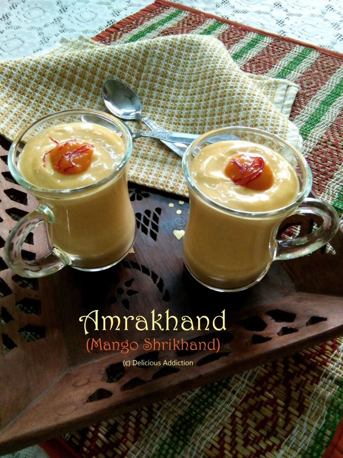 Mango Shrikhand or Amrakhand (Mango Flavored Frozen Yogurt)