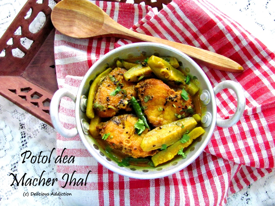 Potol dea Macher Jhal (Fish Curry with Pointed Gourd)