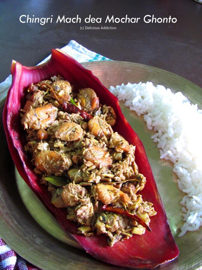 Chingri Mach dea Mochar Ghonto (Banana Blossom Curry withShrimps)