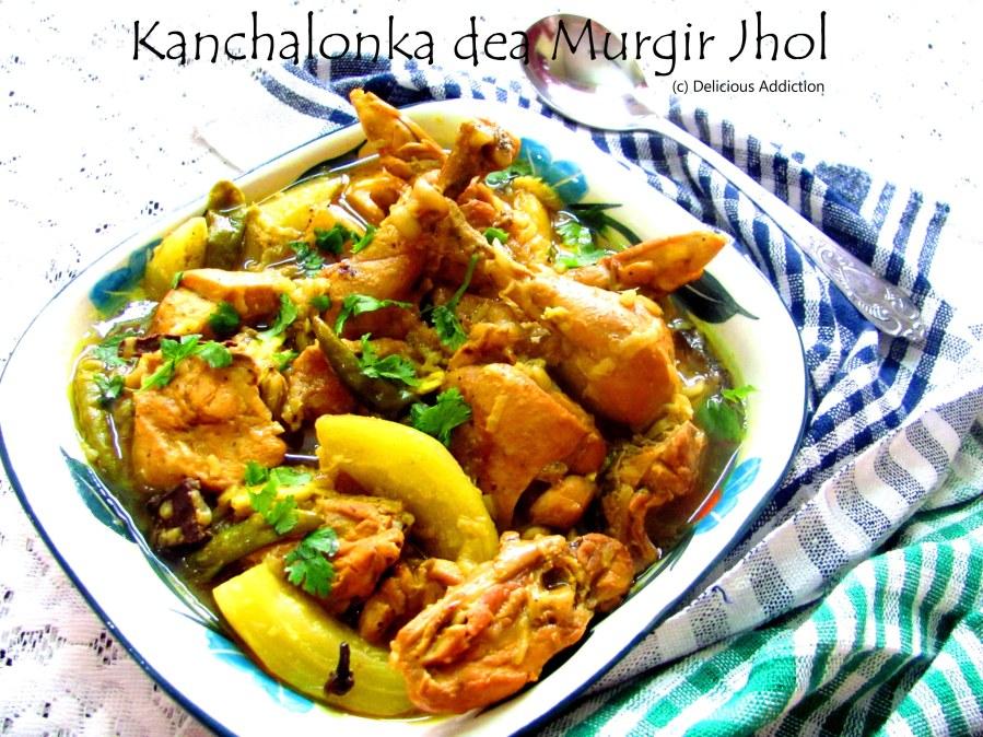 Kanchalonka dea Murgir Jhol (Light Chicken Curry with GreenChillies)