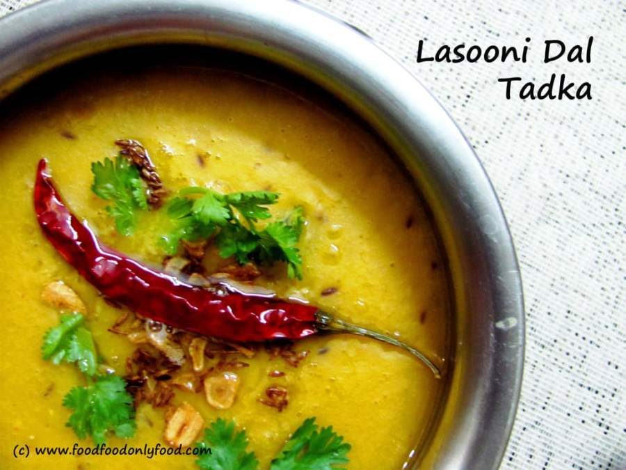 Lasooni Dal Tadka (Tempered Garlic Flavoured Pigeon Pea Lentil)