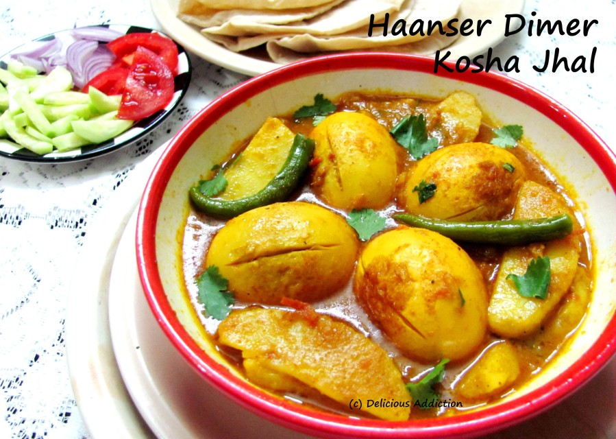 Haanser Dimer Kosha Jhal (Bengali Style Spicy Duck Egg Curry)