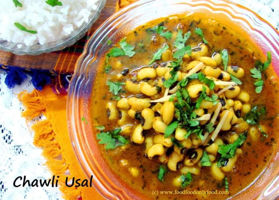 Chawli Usal (Spicy Coconut Based Curry Made With Black Eyed Beans)