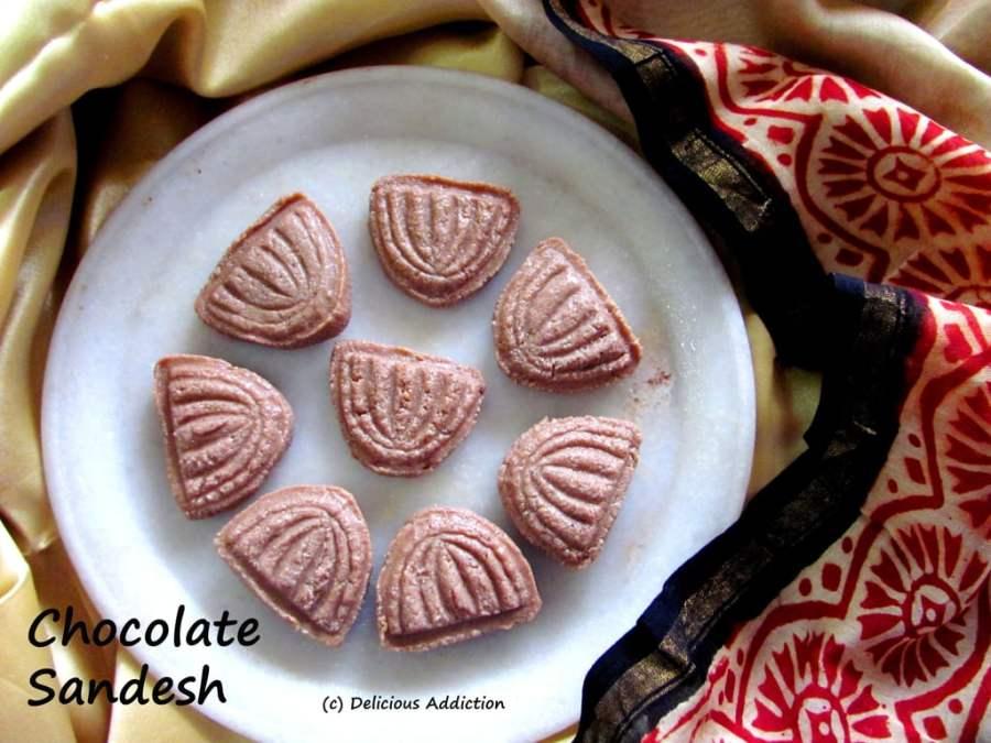 Chocolate Sandesh (Chocolate Flavoured Bengali Cottage CheeseFudge)