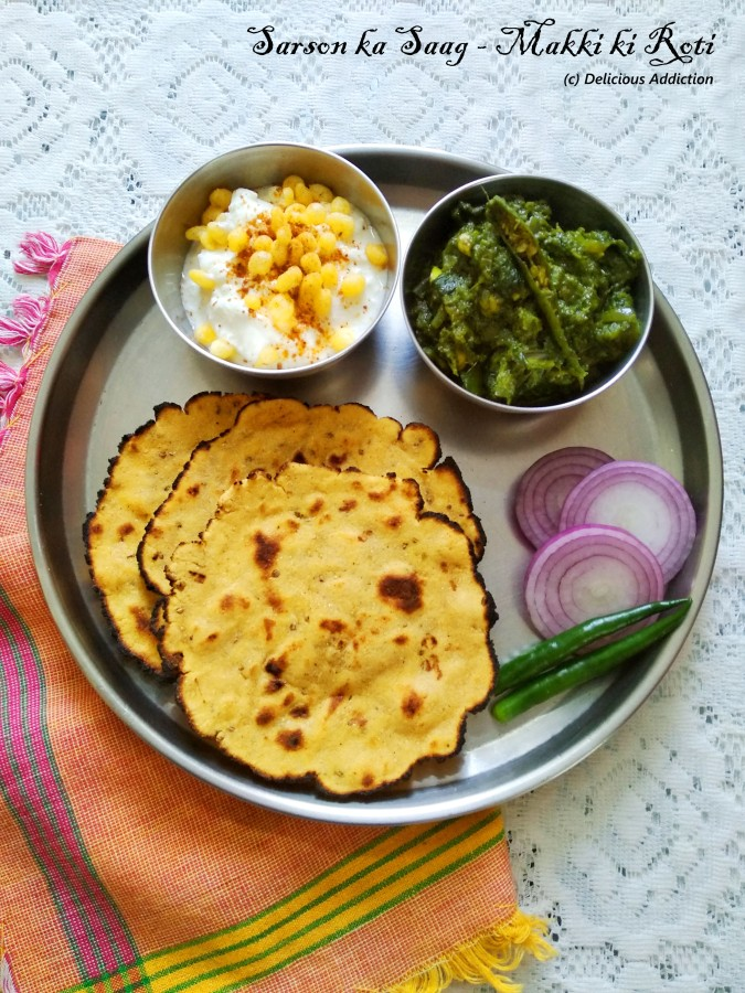 Sarson ka Saag – Makki ki Roti (Mustard Leaf Curry and Maize Flour Flat Bread)