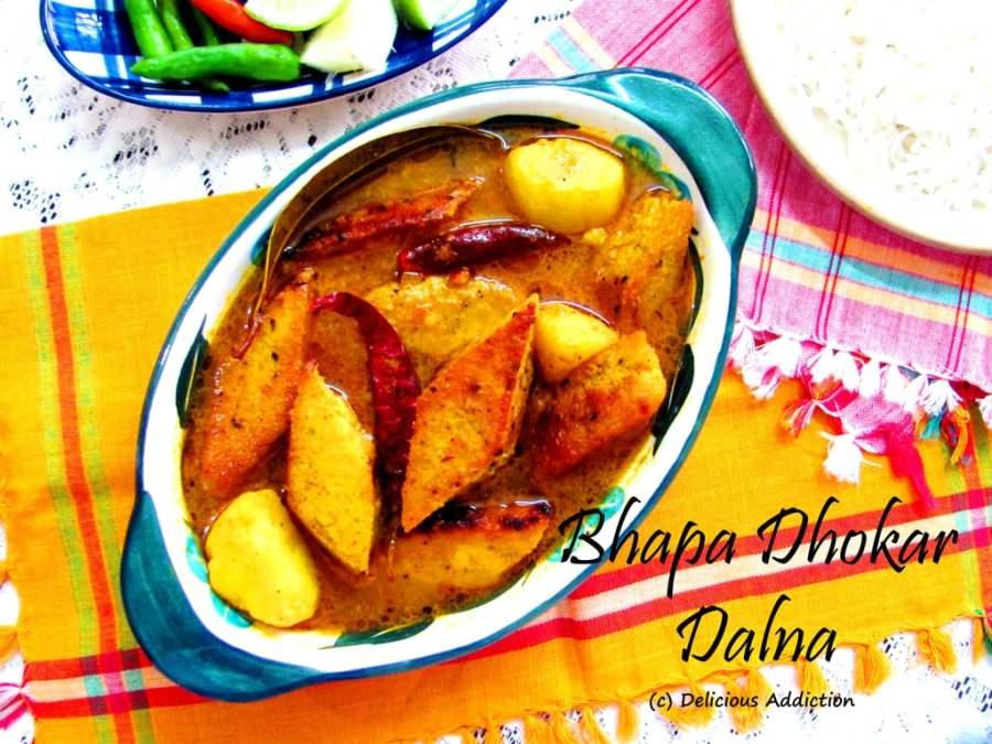 Bhapa Dhokar Dalna (Steamed Lentil Fritters withGravy)