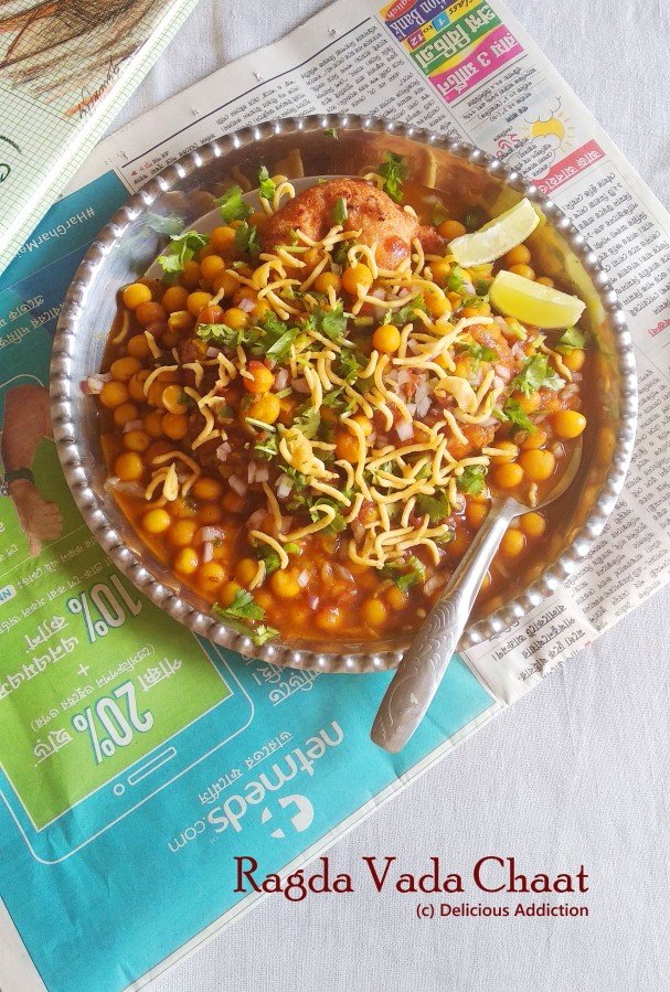 Ragda Vada Chaat (Lentil Fritter with Dried Yellow Pea Curry)
