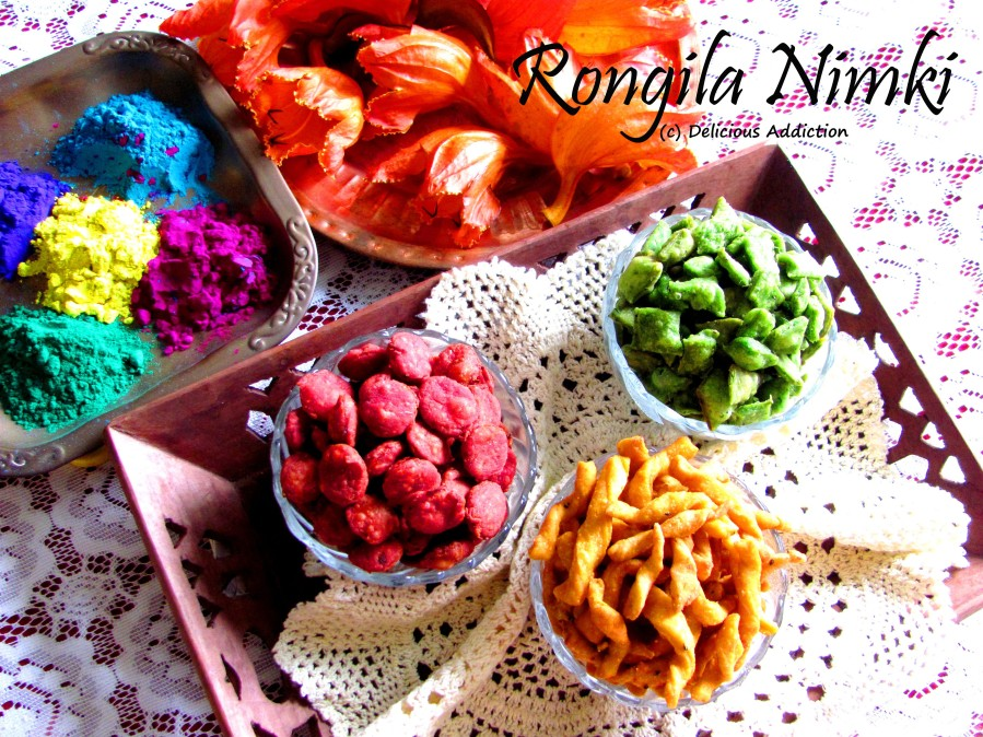 Rongila Nimki (Beetroot, Carrot and Spinach Flavoured Bengali Fried Diamond Shaped Savoury Snack)