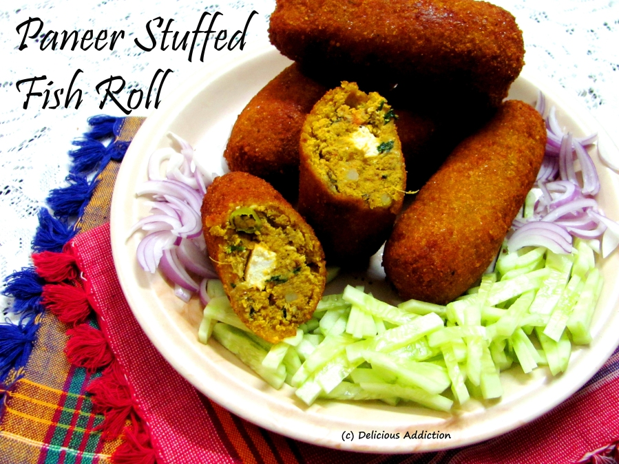 Paneer Stuffed Fish Roll (Indian Cottage Cheese Stuffed Fish Croquet)