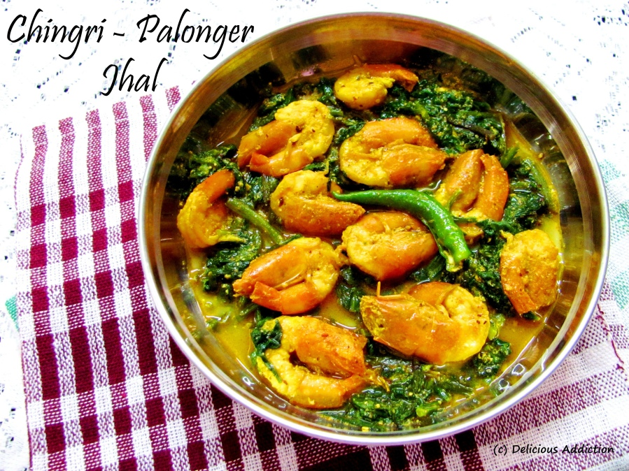 Chingri – Palonger Jhal (Spinach and ShrimpCurry)