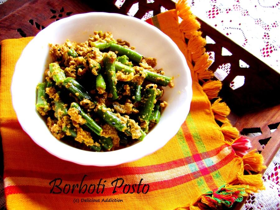 Borboto Posto (Long Yard Bean or Snake Bean Stir Fry with Poppy SeedPaste)