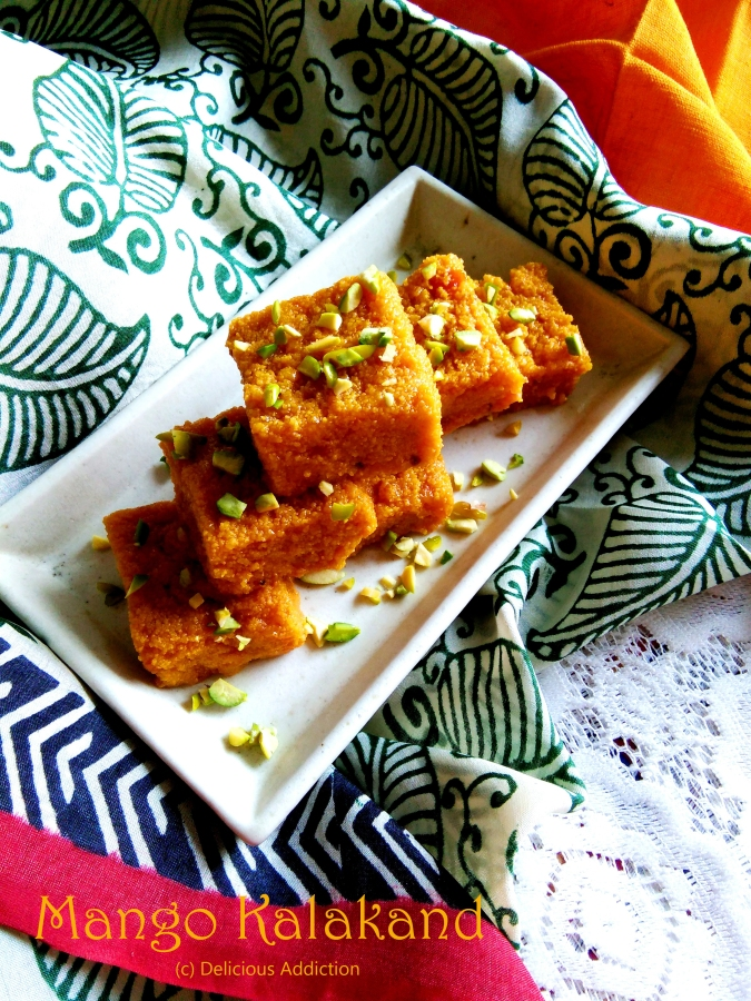 Mango Kalakand (Mango Flavoured Indian Fudge)