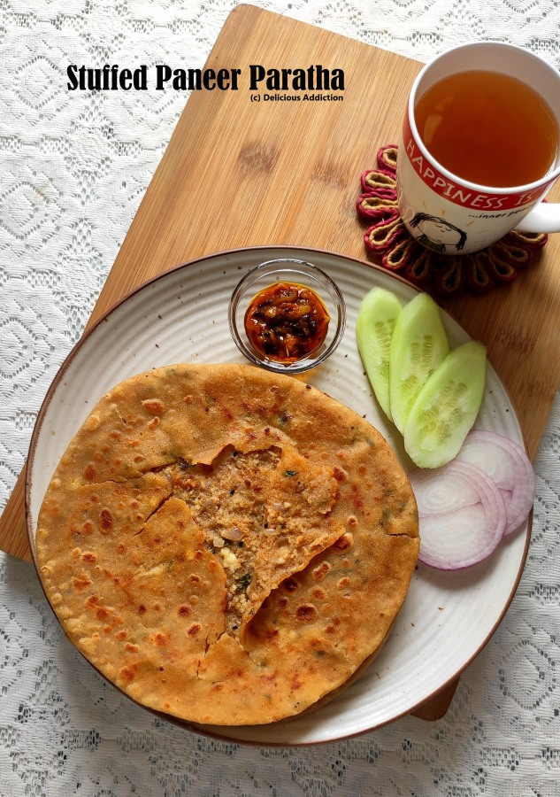 Stuffed Paneer Paratha (Indian Fried Bread with Cottage Cheese Stuffing)