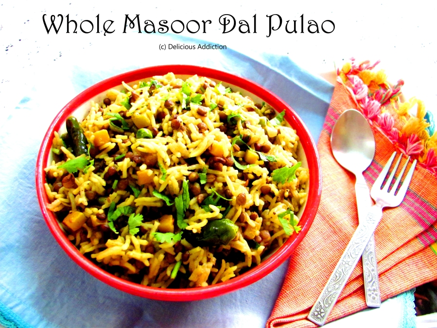 Whole Masoor Dal Pulao (Whole Red Lentil Pilaf)