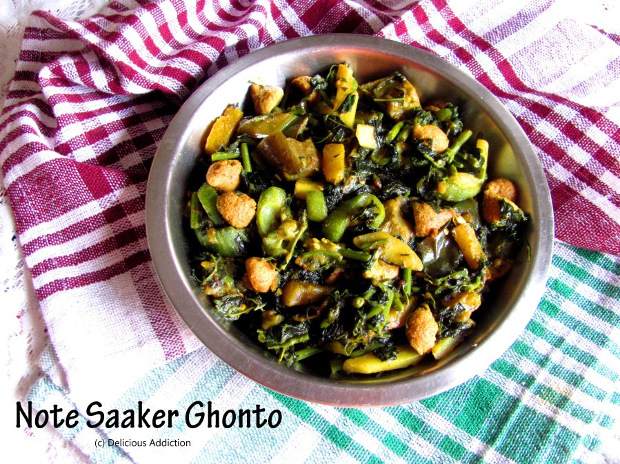 Note Saaker Ghonto (Amaranth and Mixed VegetablesCurry)