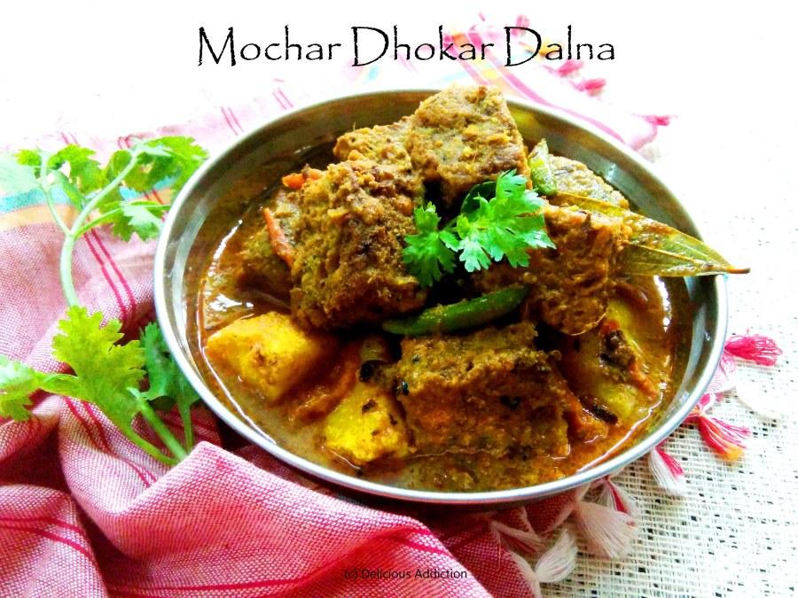 Mochar Dhokar Dalna (Banana Flower and Lentil FritterCurry)