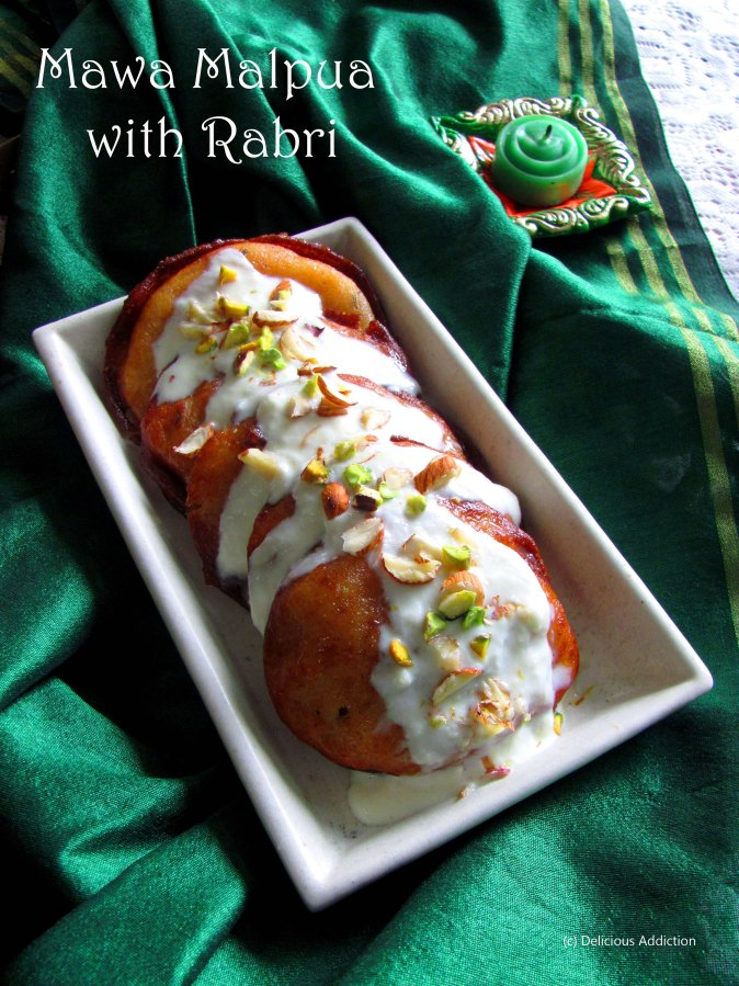 Rajasthani Mawa Malpua with Rabri (Indian Sweet Pancake with Milk Pudding)