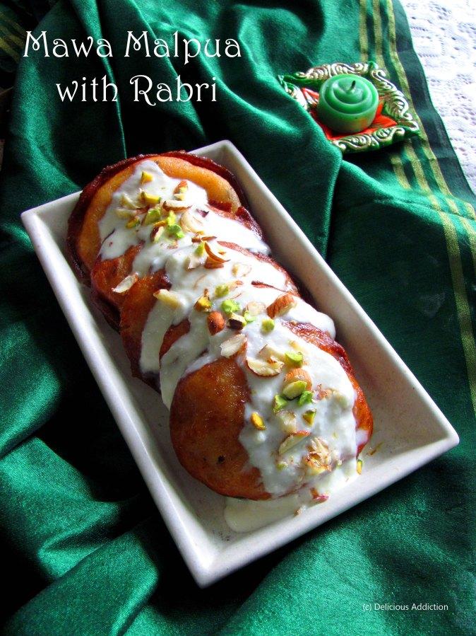 Rajasthani Mawa Malpua with Rabri (Indian Sweet Pancake with MilkPudding)