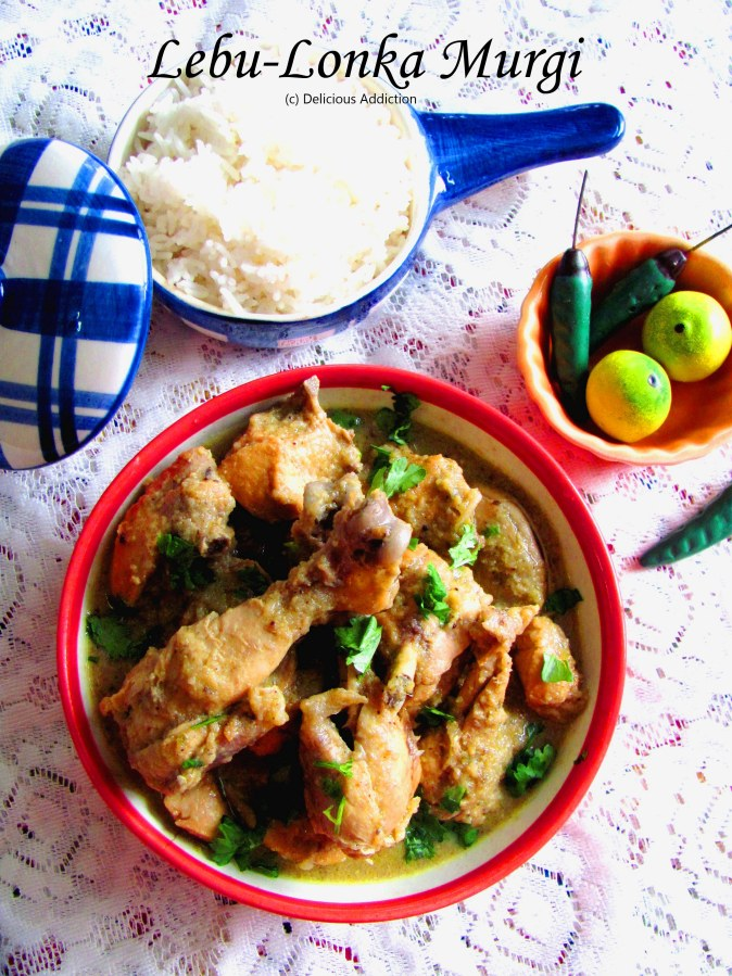 Lebu Lonka Murgi (Lemon and Chilli Flavoured Light Chicken Curry)
