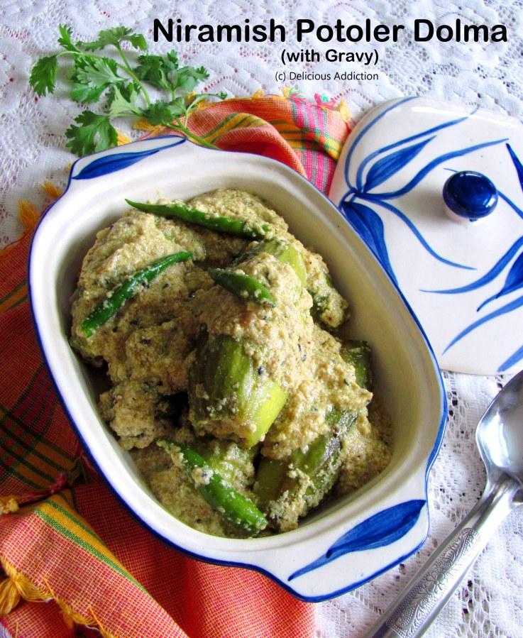 Niramish Potoler Dolma with Gravy (Stuffed Pointed GourdCurry)