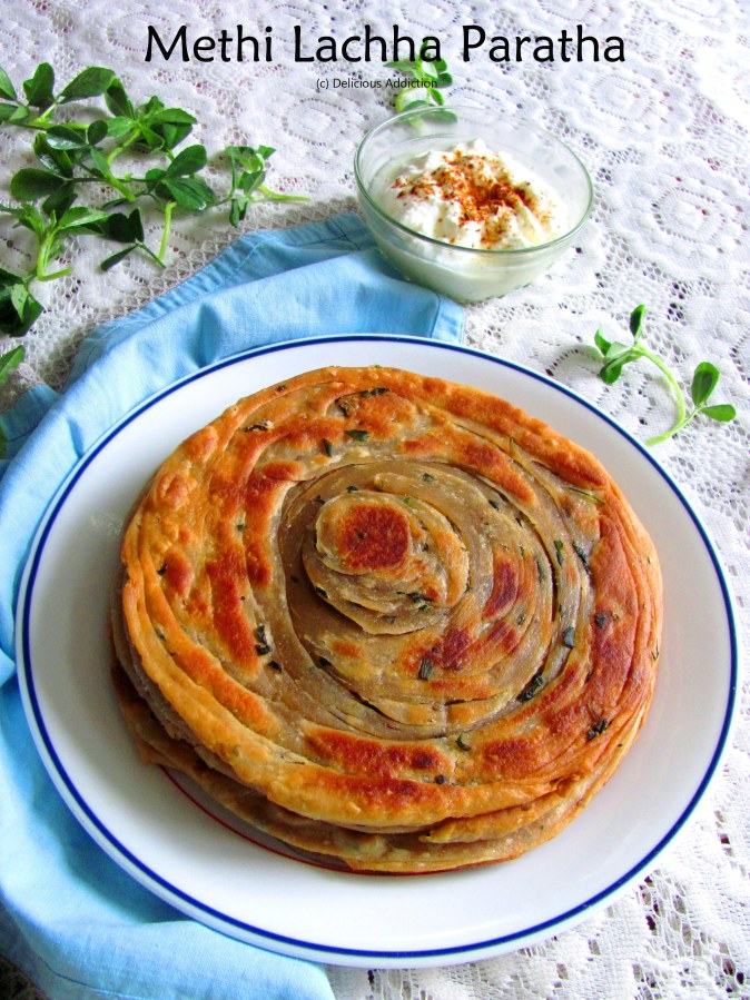 Methi Lachha Paratha (Crispy Layered Indian Flat Bread with Fenugreek Leaf)
