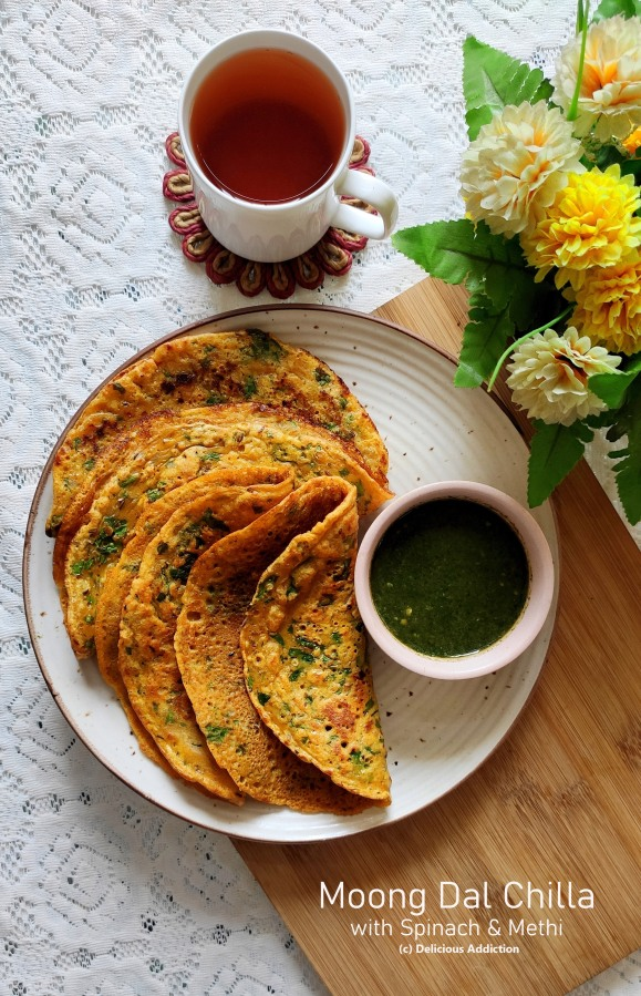 Moong Dal Chilla with Palak & Methi (Split Yellow Lentil Crepe with Spinach & FreshFenugreek)