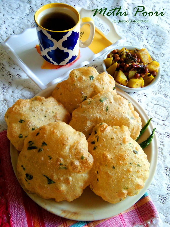 Methi Poori (Fenugreek Flavoured Indian Puffed Bread)