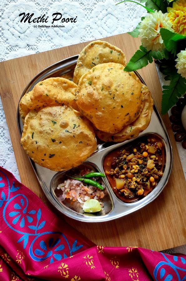 Methi Poori (Fenugreek Flavoured Indian PuffedBread)