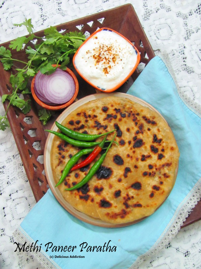 Methi Paneer Paratha (Indian Flat Bread with Fenugreek and Cottage Cheese Filling)