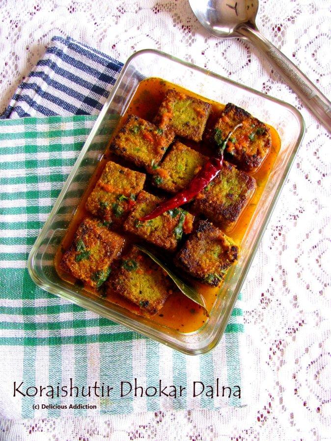 Koraishutir Dhokar Dalna (Green Peas & Lentil CakeCurry)
