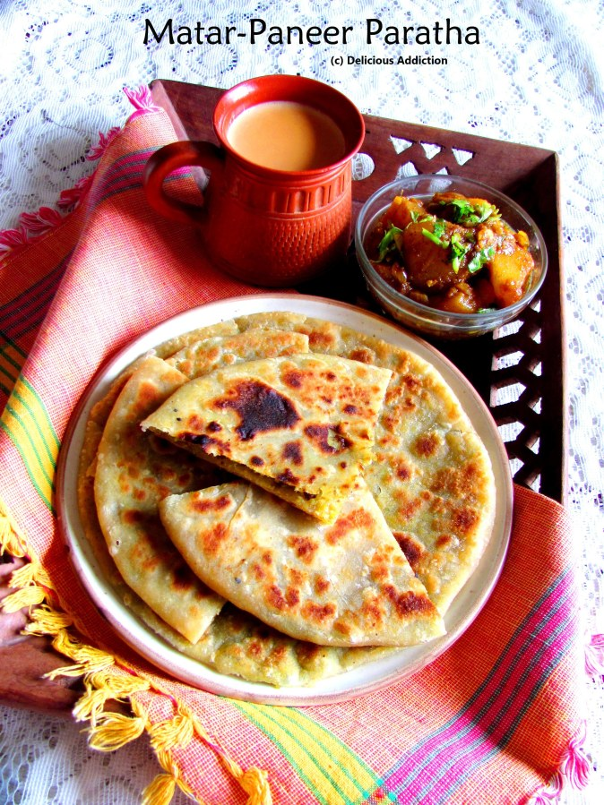 Matar-Paneer Paratha (Green Peas & Indian Cottage Cheese Stuffed Flat Bread)
