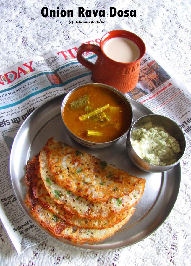 Onion Rava Dosa (Indian Savoury Crepe made with Semolina)