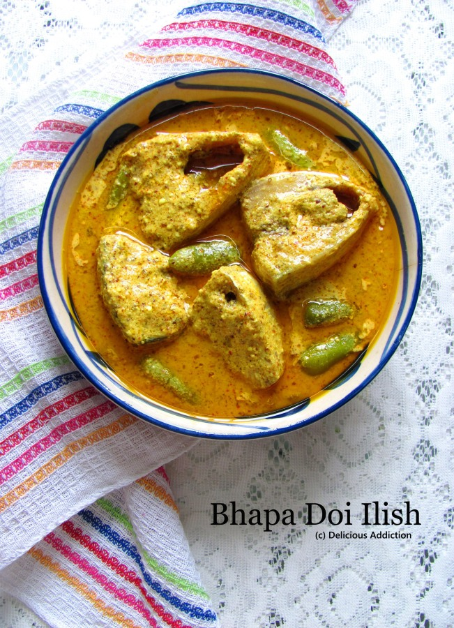 Bhapa Doi Ilish (Hilsa Fish Curry with Yogurt – Microwave Method)
