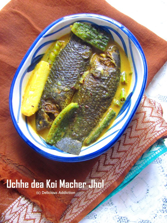 Uchhe dea Koi Macher Jhol (Climbing Perch with Bitter Gourd)