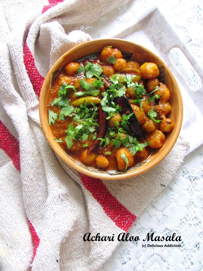 Achari Aloo Masala (Spicy n Tangy PotatoCurry)