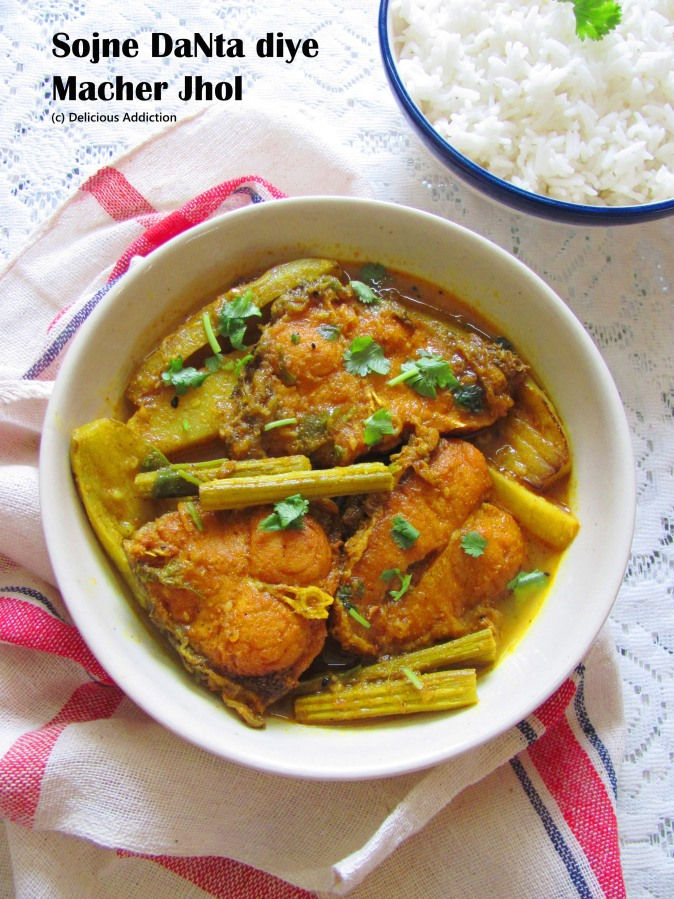 Sojne DaNta diye Macher Jhol (Light Fish Curry with Drumstick)