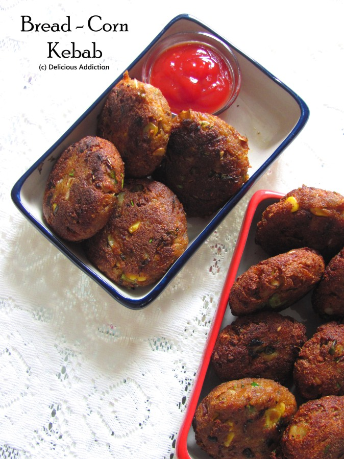 Bread – Corn Kebab (Corn and bread cutlets)