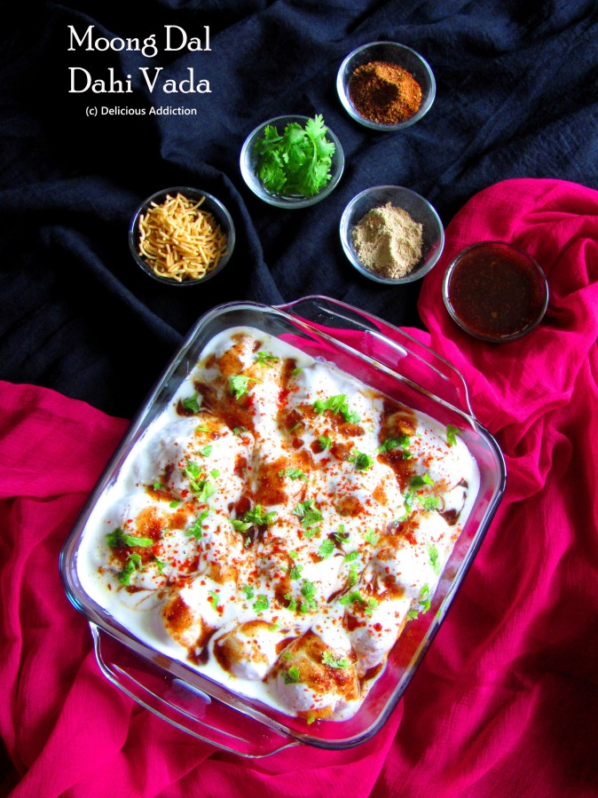 Moong Dal Dahi Vada (A popular Indian Snack made with Lentil Dumplings and Curd)