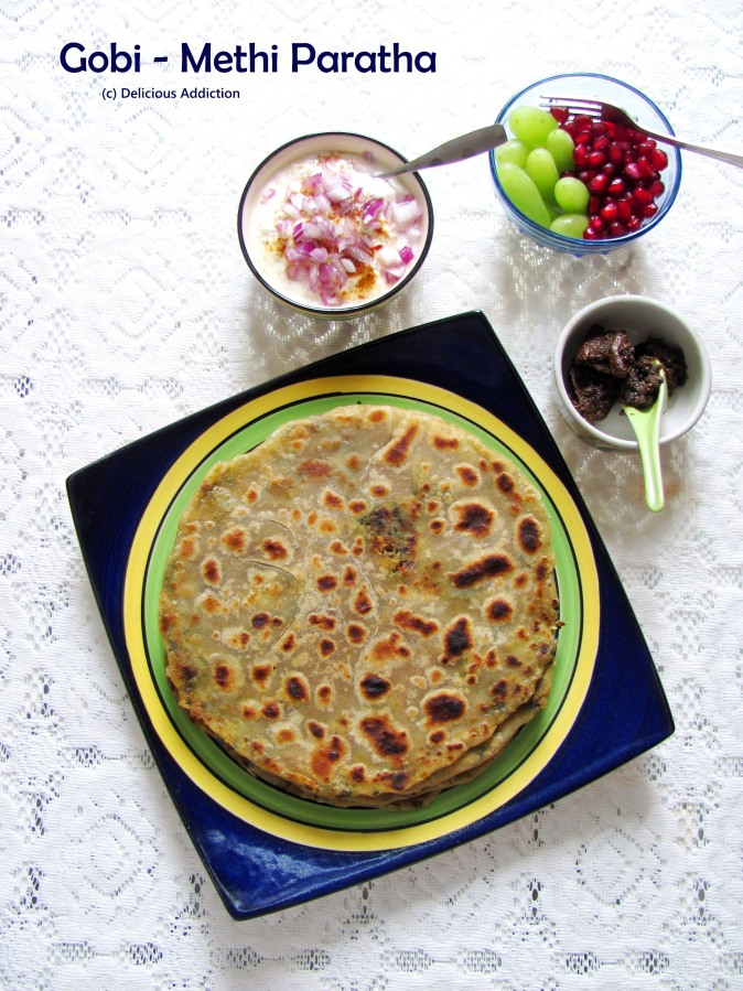 Gobi Methi Paratha (Indian Flat Bread with Cauliflower and Fenugreek Filling)