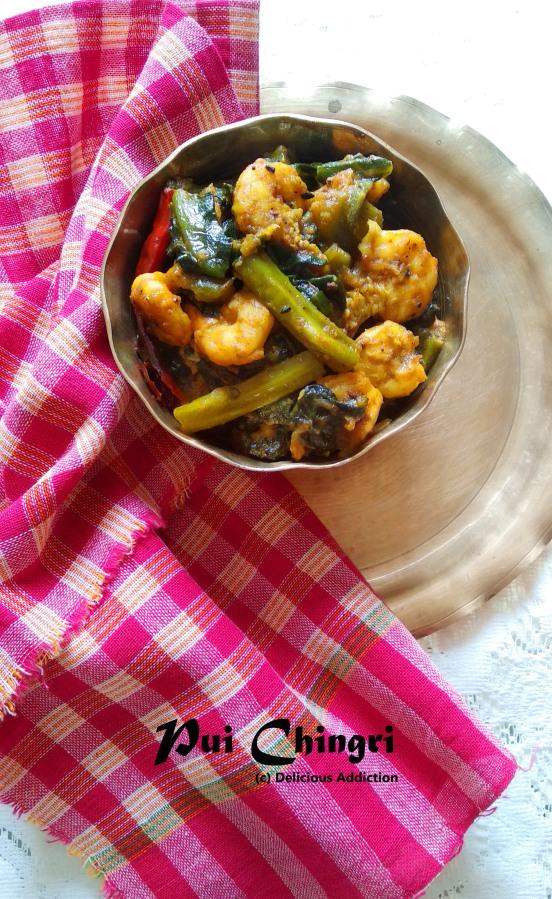 Pui Chingri (Malabar Spinach with PrawnCurry)