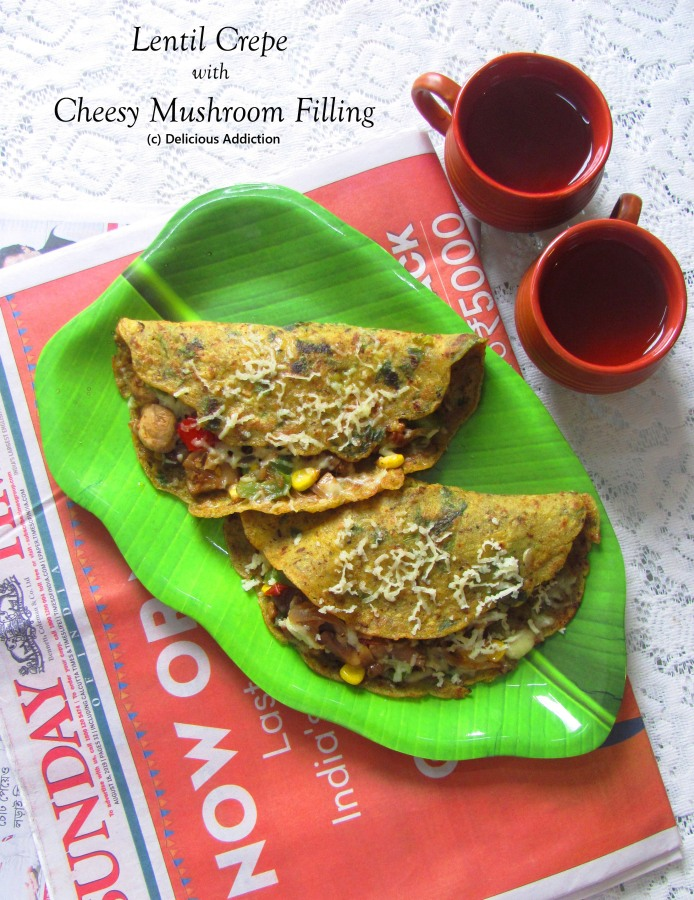 Lentil Crepe with Cheesy Mushroom Filling