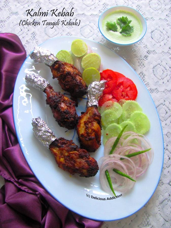 Chicken Kalmi Kebab or Chicken Tangdi Kebab (Succulent Chicken Drumsticks Cooked in flavourful richmarination)