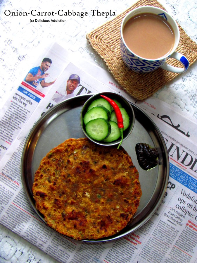 Onion-Carrot-Cabbage Thepla (Indian Flat-Bread with Vegetables)