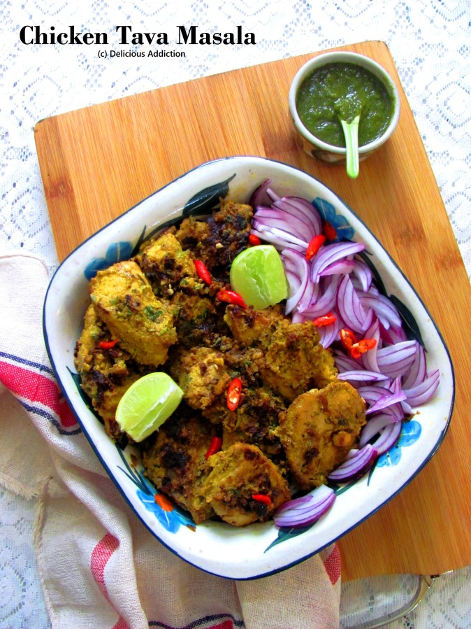 Chicken Tava Masala (Skillet Roasted Spicy Dry ChickenCurry)