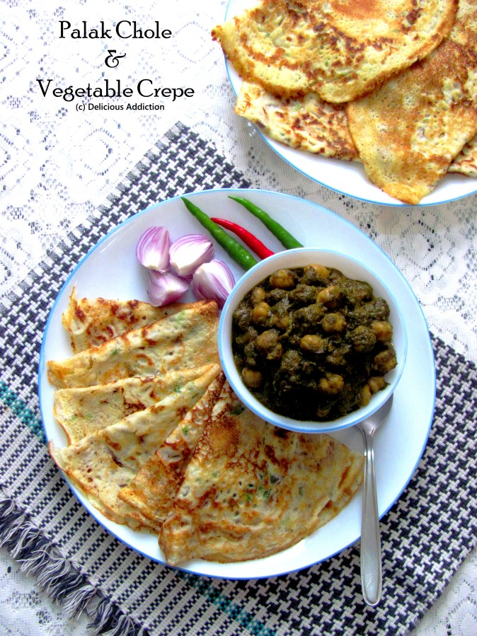 Palak Chole – Vegetable Crepe (Chickpea Curry with Spinach & VegetableCrepe)