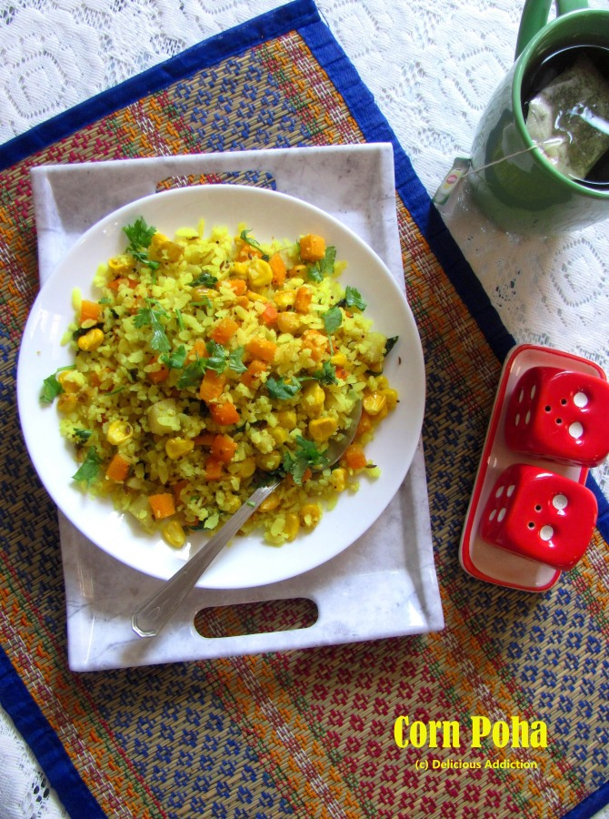 Corn Poha (Flattened rice with Corn)