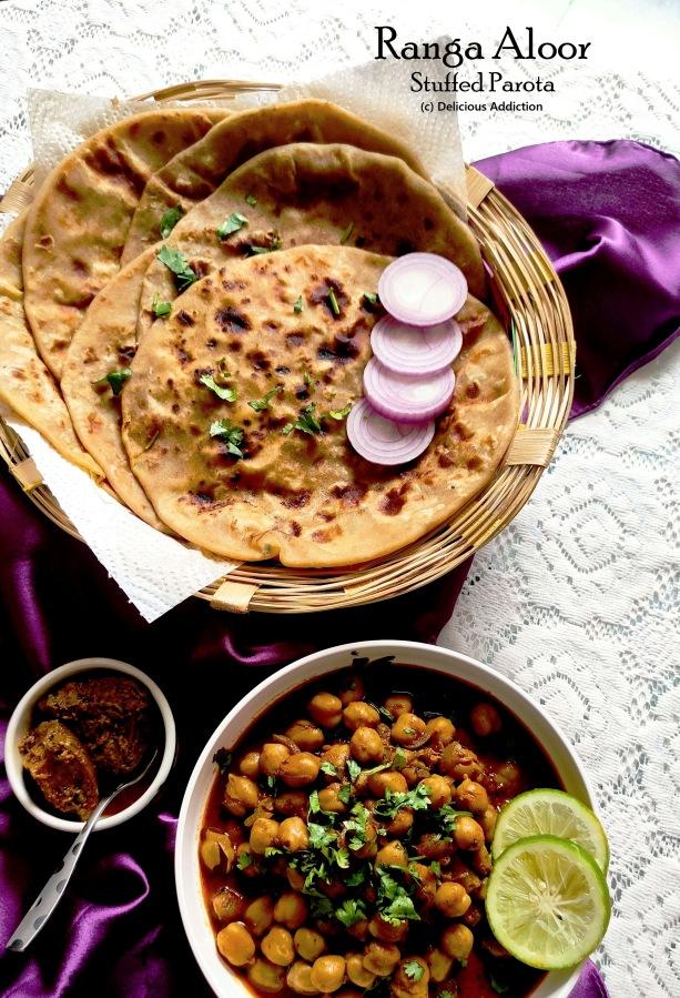 Ranga Aloor Pur Bhora Parota (Sweet Potato Stuffed FlatBread)