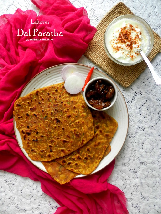Leftover Dal Paratha (Indian Flat Bread with Lentil)